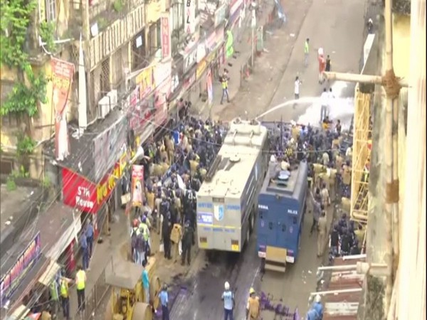 Police used water cannon on BJP workers