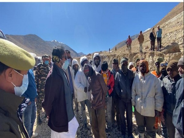 Minister of State for Home Affairs G Kishan Reddy while interacting with road workers in Leh