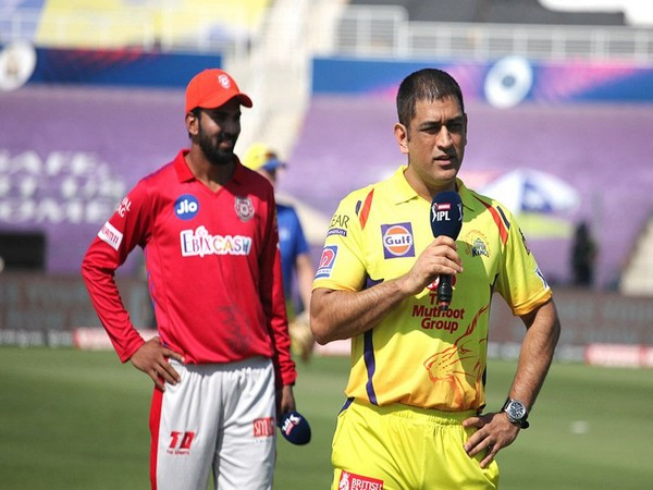 MS Dhoni during toss in thr fixture between CSK and KXIP