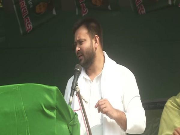 RJD leader Tejashwi Yadav speaking at an election rally in Saharsa on Thursday.