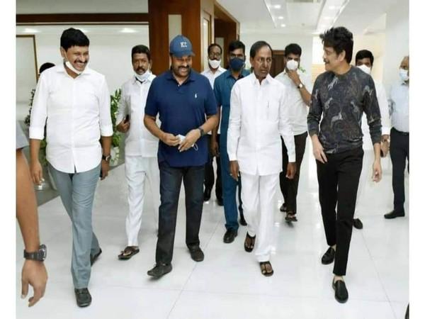 Actor Chiranjeevi K with Telangana Chief Minister K Chandrashekar Rao.