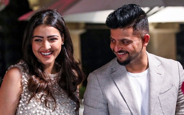 Former Indian cricketer Suresh Raina with his Wife