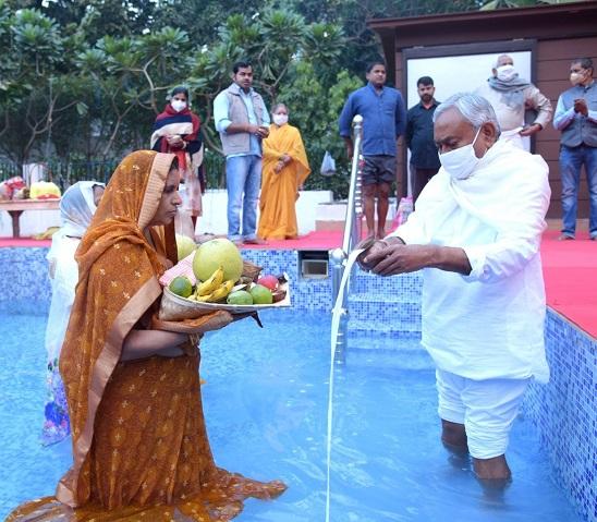 CM Nitish Kumar offers 'Arghya'