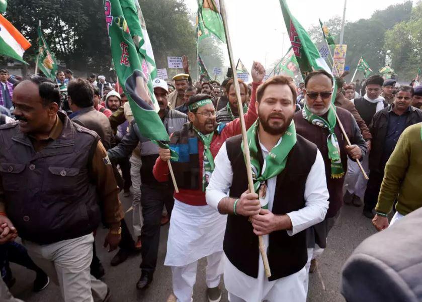 RJD leader Tejashwi Yadav during protets in Patna