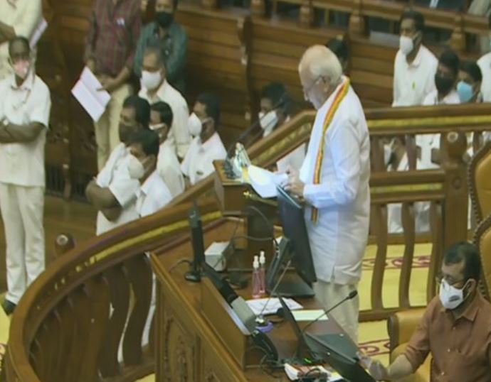 Kerala Governor Arif Mohammad Khan delivering his policy address in the Kerala Assembly Session.