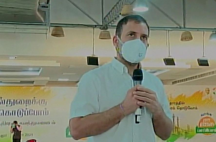 Rahul Gandhi addressing a gathering of MSME representatives in Coimbatore