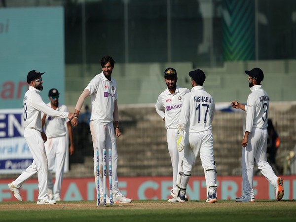 Indian players celebrating after taking a wicket. (Photo/ BCCI Twitter)