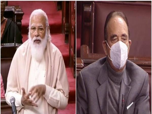 Prime Minister Narendra Modi and Congress leader Ghulam Nabi Azad