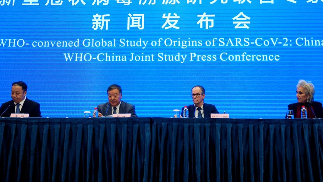 (R-L) Marion Koopmans and Peter Ben Embarek, members of the World Health Organization (WHO) team tasked with investigating the origins of the coronavirus disease (COVID-19), Liang Wannian, head of expert panel on COVID-19 response at China's National Health Commission, and Chinese National Health Commission spokesman Mi Feng attend the WHO-China joint study news conference at a hotel in Wuhan,