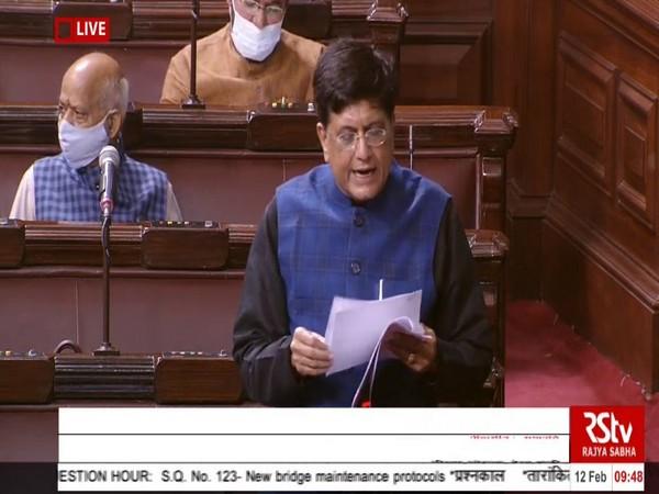 Union Railways Minister Piyush Goyal speaking in Rajya Sabha on Friday.