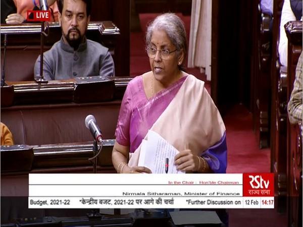 Union Finance Minister Nirmala Sitharaman speaking in the Rajya Sabha on Friday.