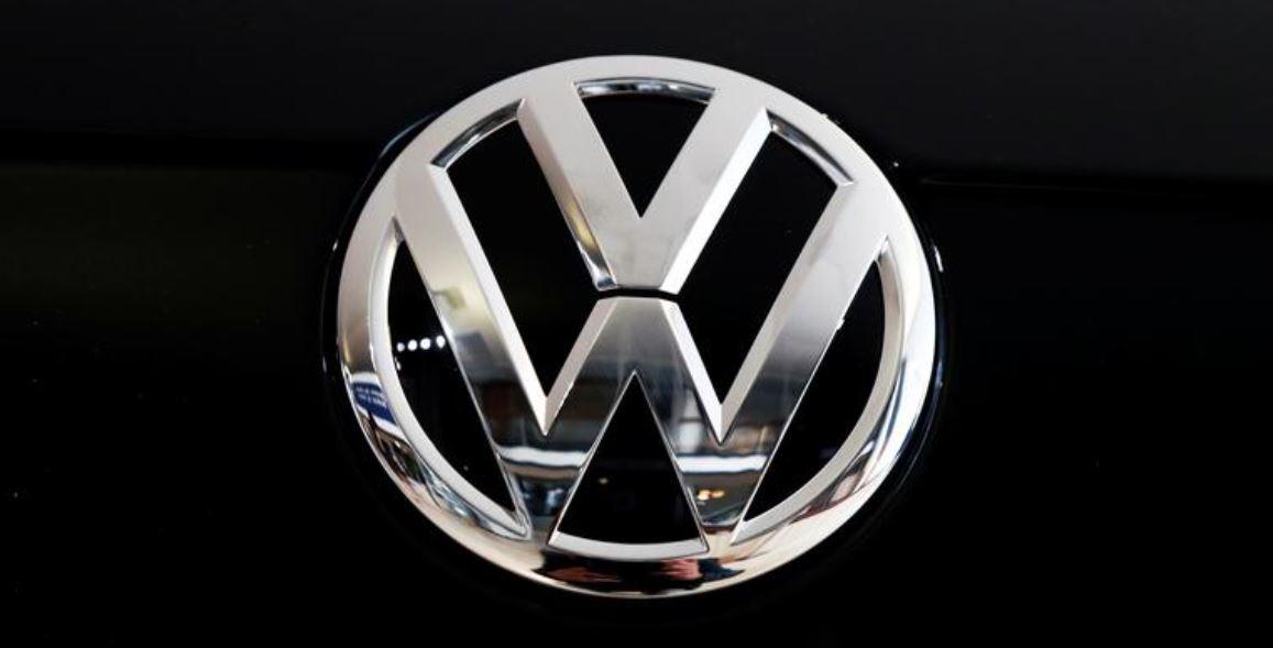 The logo of German carmaker Volkswagen is seen on car in a showroom of a Volkswagen car dealer in Brussels