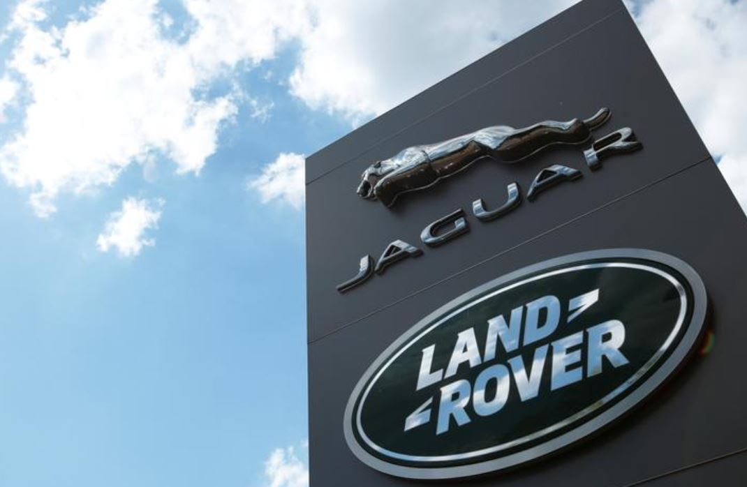The Jaguar Land Rover logo is seen at a dealership