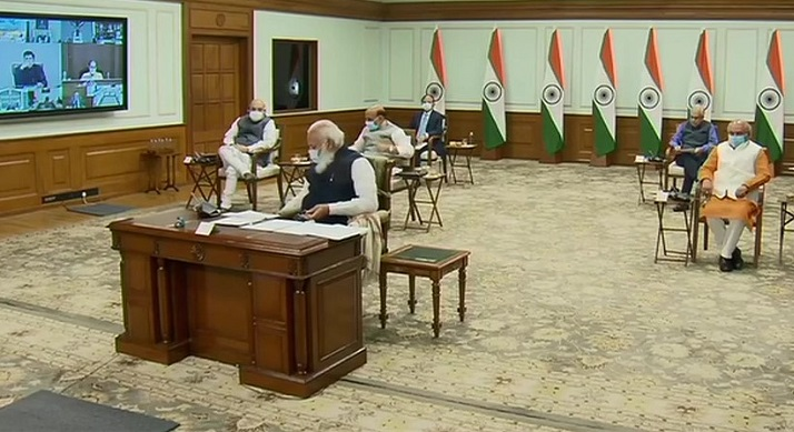 Prime Minister Narendra Modi addressing the sixth meeting of the Governing Council of NITI Aayog via video conferencing