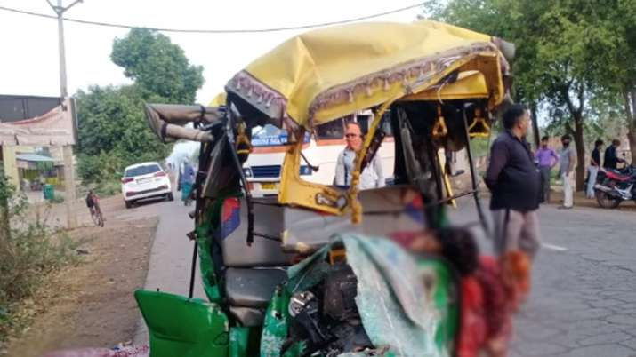 The Auto-rickshaw which collided with bus