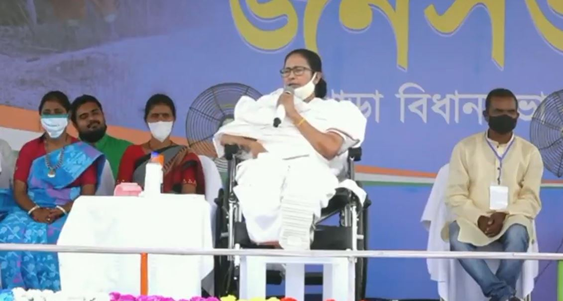 Chief Minister Mamata Banerjee addressing a rally in Purlia