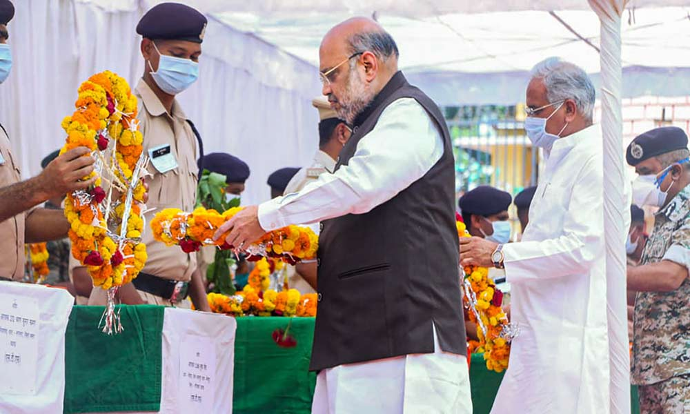 Union Home Minister Amit Shah paying tributes to martyrs of Sukma Encounter