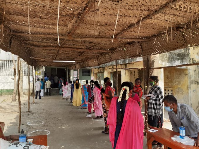 Brisk turn out by lady voters in Oussudu Constituency Puducherry