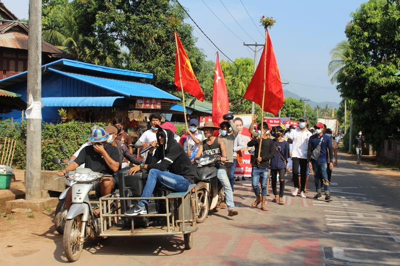 Villagers attend a protest against the military coup, in Launglon township, Myanmar
