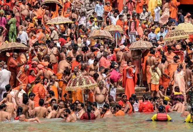 Sadhus of various akharas taking part in the 'shah snan' at Har Ki Pauri in Haridwar