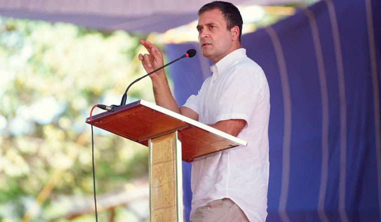 Rahul Gandhi speaking in a rally