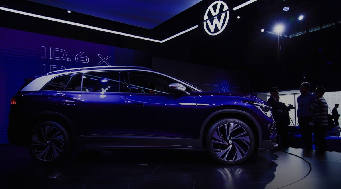 A Volkswagen ID.6 X is displayed ahead of the Shanghai Auto Show