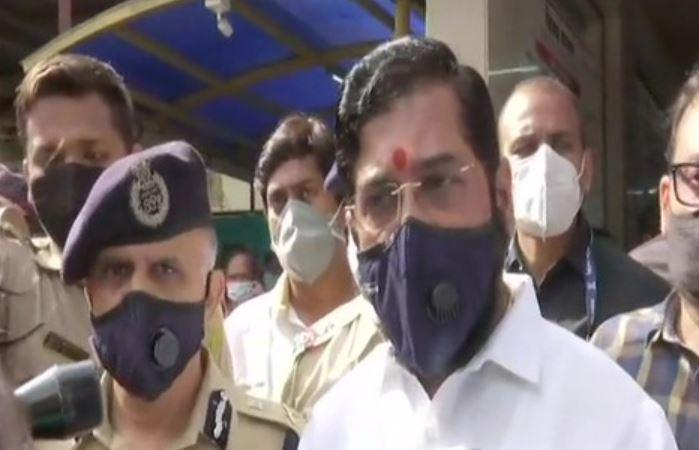 Maharashtra Minister Eknath Shinde speaking to media