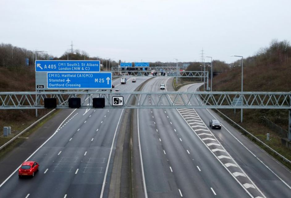 The M25 motorway during morning rush hour, amid the coronavirus disease (COVID-19) outbreak, in Hertfordshire
