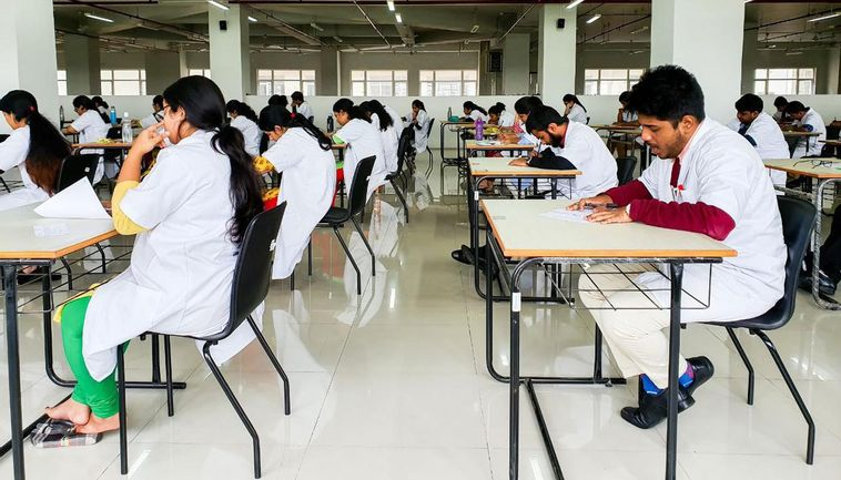 Student giving exam