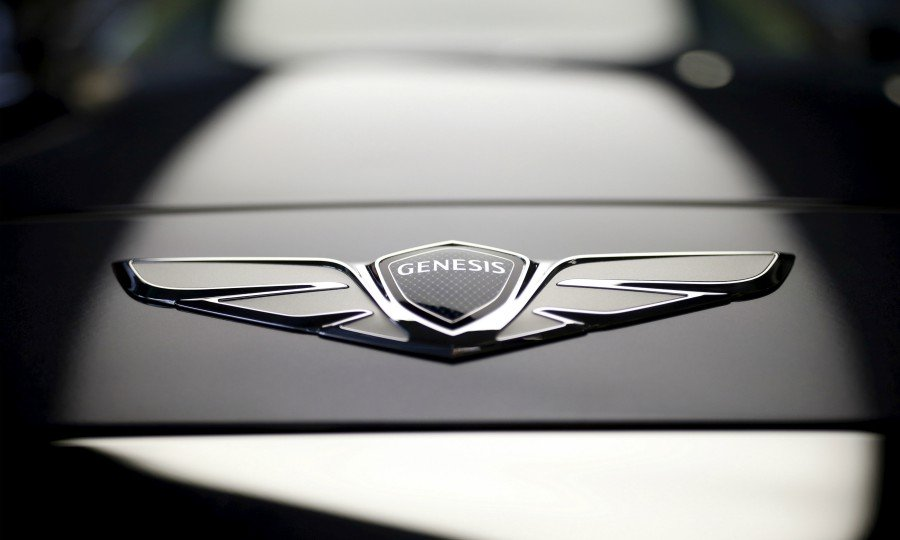 The logo of Hyundai Genesis is seen on its new model EQ900 at the Hyundai Motor Studio in Seou