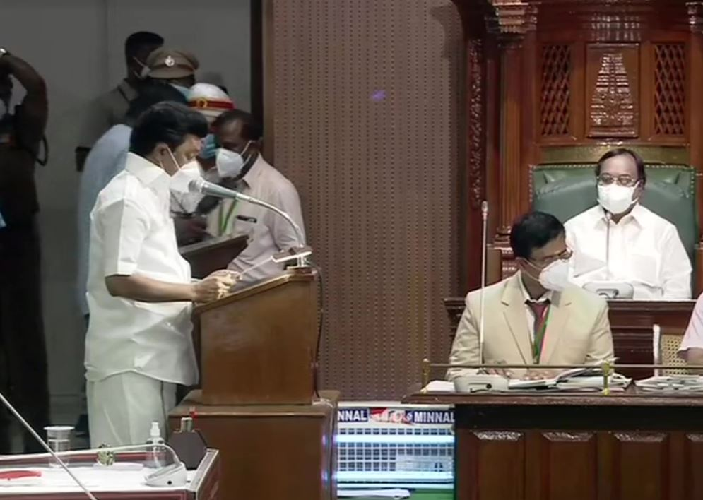 M K Stalin taking oath as MLA in Tamil Nadu Assembly.
