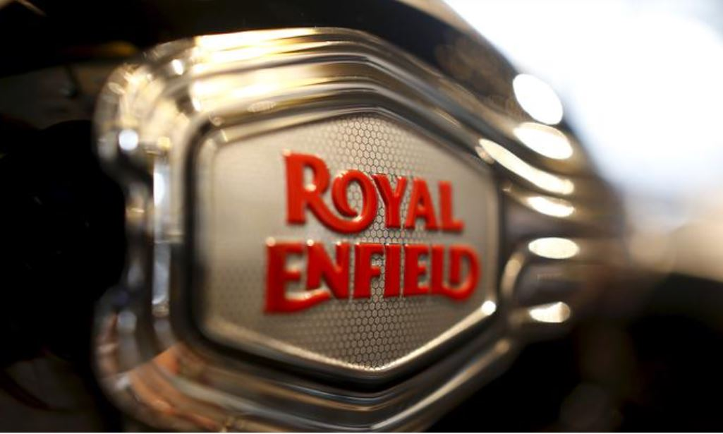 The logo of Royal Enfield is pictured on a bike at Royal Enfield