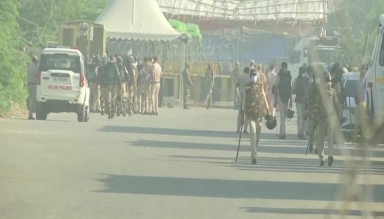 Visual of security arrangements at Delhi's Singhu border.