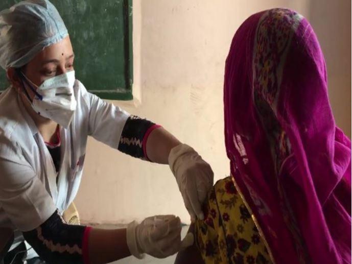 Visual of the vaccination drive at Jodhpur's Kali Beri