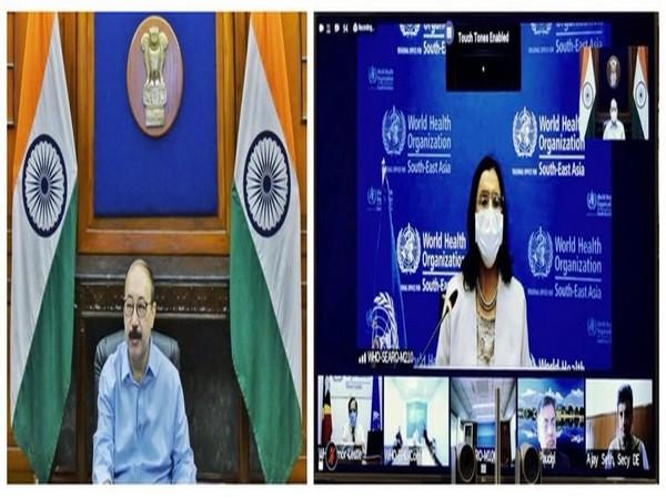 "Foreign Secretary Harsh Shringla speaking at WHO's ""South-East Asia Regional Health Partners' Forum on COVID-19"" (Source: Arindam Bagchi/Twitter)"