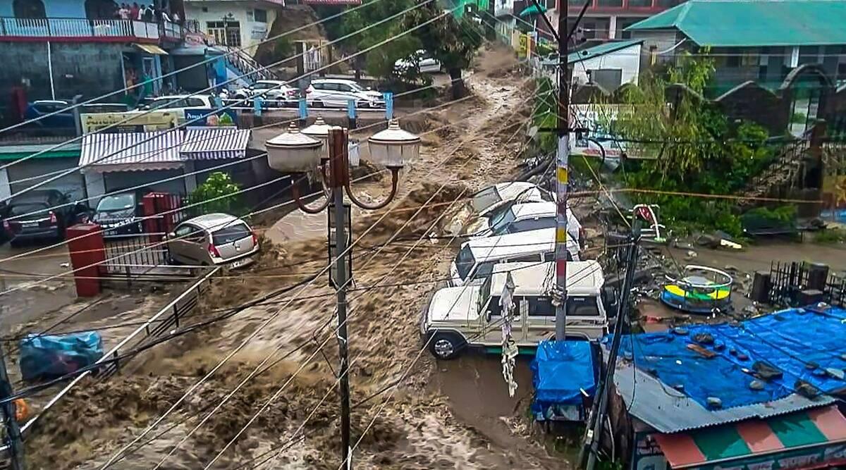 Flash flood in  Dharamshala