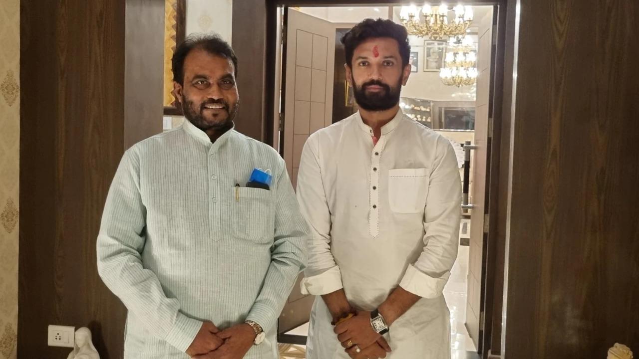 Rashtriya Janata Dal leader Shyam Rajak meets Lok Janshakti Party's Chirag Paswan