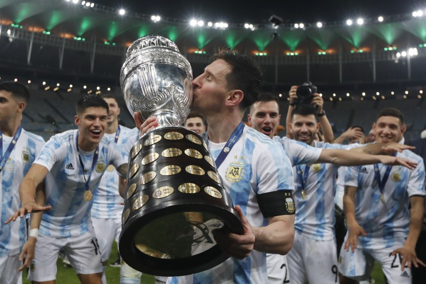 Messi's picture holding Copa America trophy