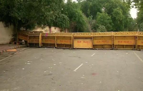 A visual from Jantar Mantar in New Delhi on Thursday