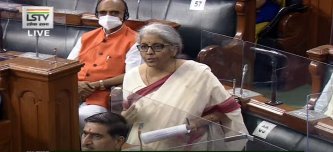 Finance Minister Nirmala Sitharaman  in Lok Sabha