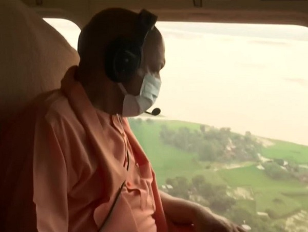 UP CM conducts aerial survey of flood-affected areas