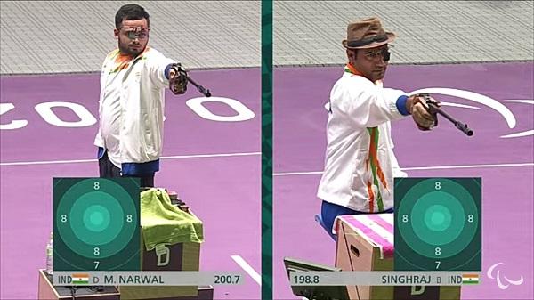 Indian shooters Manish Narwal and Singhraj Adhana
