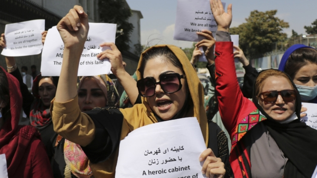 Afghan women protesting against Taliban (File Photo)