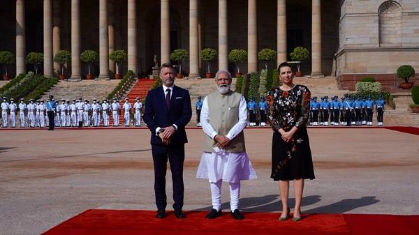 PM Modi receives visiting Danish counterpart Frederiksen (Pic Source- MEAIndia Twitter)